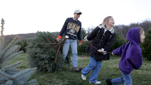 A man and his daughters drag their tree off the Snicker's Gap Christmas Tree Farm in Bluemont, Virginia.