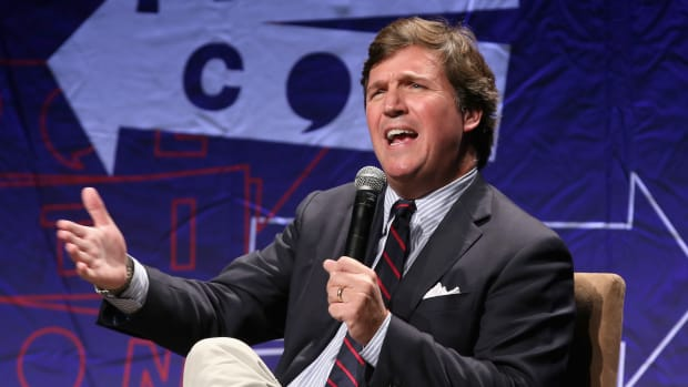Tucker Carlson speaks onstage during Politicon 2018 at the Los Angeles Convention Center on October 21st, 2018, in Los Angeles, California.