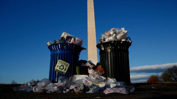 Trash begins to accumulate along the National Mall near the Washington Monument due to a partial shutdown of the federal government on December 24th, 2018 in Washington, D.C.
