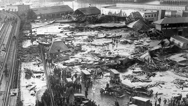 Twenty one people were killed on Boston's Commercial Street in the North End when a tank of molasses ruptured and exploded.