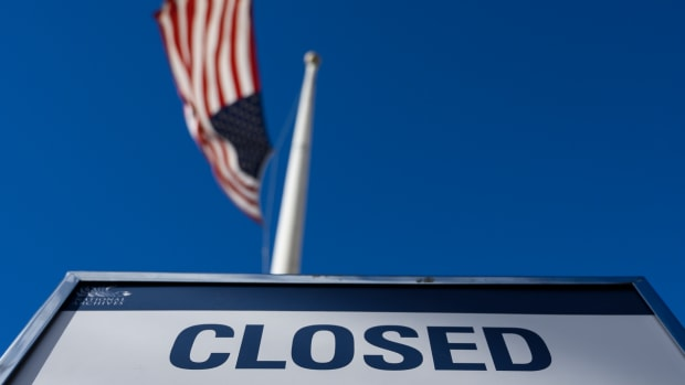 A sign is displayed on a government building in Washington, D.C., that's closed because of the government shutdown, on December 22nd, 2018.