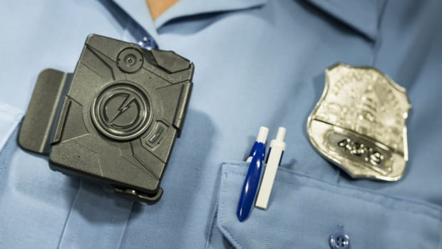 A body camera from Taser is seen during a press conference at City Hall on September 24th, 2014, in Washington, D.C.