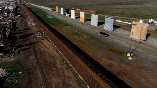 An aerial view of President Donald Trump's border wall prototypes as seen from Tijuana, Mexico, on January 7th, 2019.