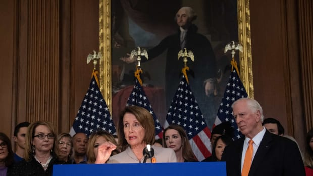 House Speaker Nancy Pelosi holds a press conference with former Arizona Representative Gabrielle Giffords and Representative Mike Thompson (D-California) to introduce legislation expanding background checks for gun sales at the Capitol in Washington, D.C., on January 8th, 2019.