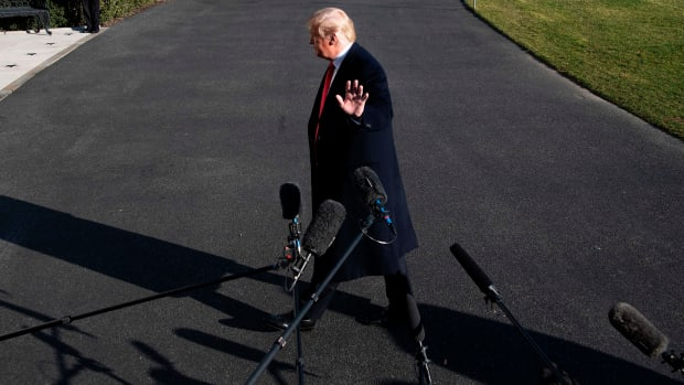 President Donald Trump speaks to the media as he arrives at the White House in Washington, D.C., on January 6th, 2019, after meetings at Camp David.