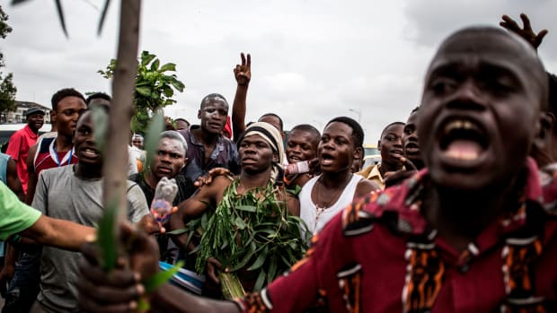 Supporters of Tshisekedi celebrate in the streets in Kinshasa on January 10th, 2019.