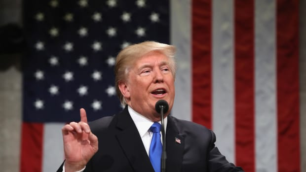 President Donald Trump gestures during the 2018 State of the Union address.