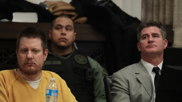 Former Chicago police Officer Jason Van Dyke, left, listens with his attorney Daniel Herbert at Van Dyke's sentencing hearing at the Leighton Criminal Court Building on January 18th, 2019, in Chicago, Illinois.
