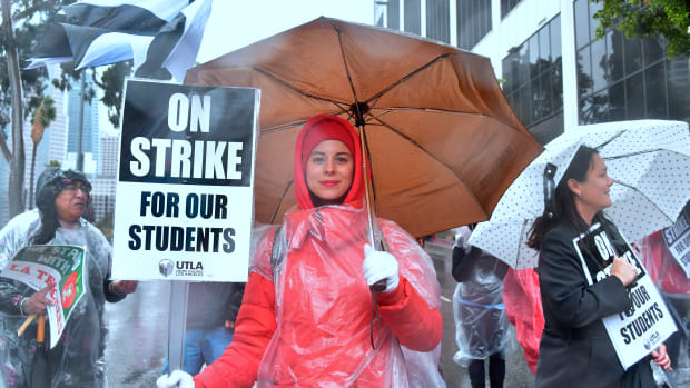 Yevgeniya Pokhilko was one of thousands of teachers who marched in the rain through Los Angeles, California, on January 14th, 2019.