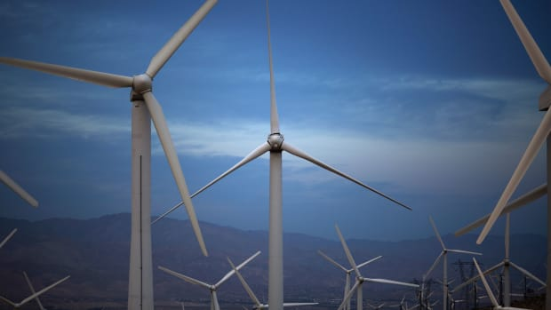 Electric energy generating wind turbines are seen on a wind farm in the San Gorgonio Pass area on Earth Day, April 22nd, 2016, near Palm Springs, California. San Gorgonio Pass is one of the largest wind farm areas in the United States.