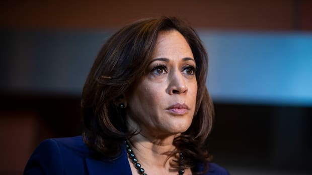 Senator Kamala Harris (D-California) speaks to reporters after announcing her candidacy for president of the United States, at Howard University, her alma mater, on January 21st, 2019 in Washington, D.C.