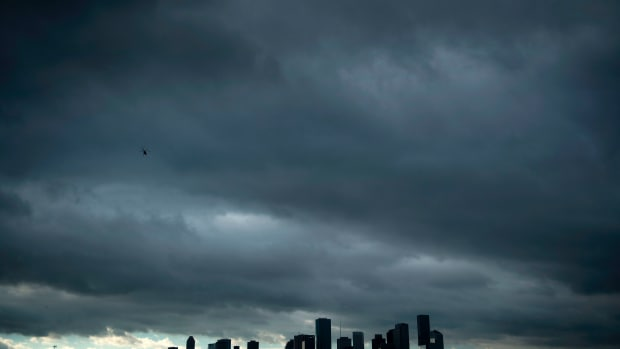 A view of the Houston skyline after heavy rains broke during the aftermath of Hurricane Harvey on August 29th, 2017.