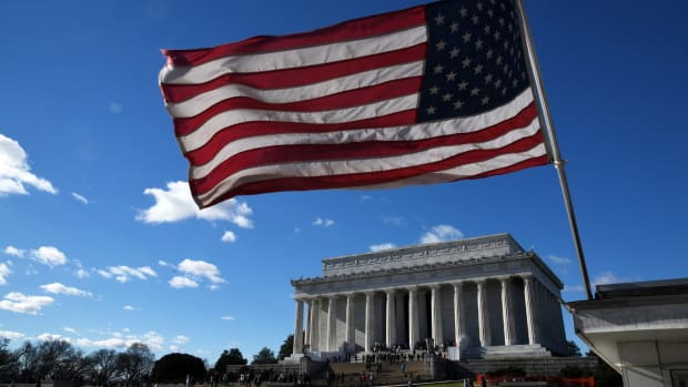 An American flag flies near the Lincoln Memorial on December 22nd, 2018, in Washington, D.C.