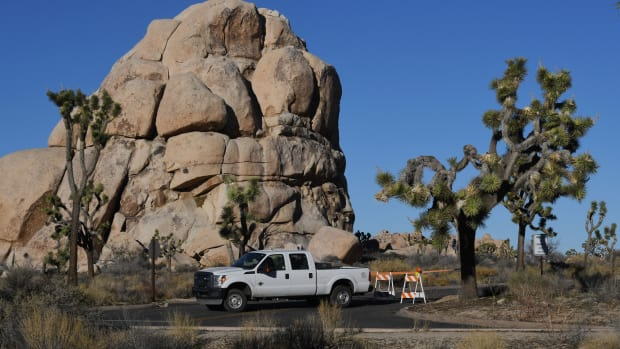 A closed and blocked campground at Joshua Tree National Park on January 3rd, 2019.