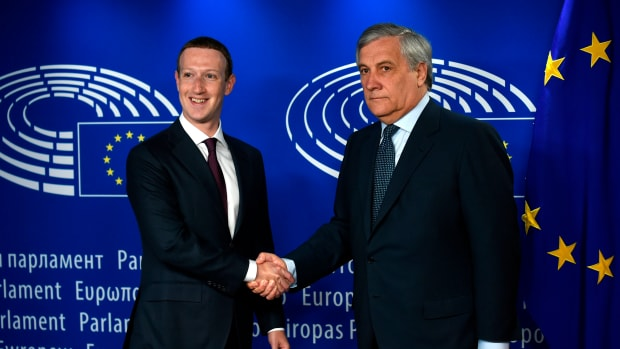 European Parliament President Antonio Tajani welcomes Facebook's Mark Zuckerberg at the European Parliament prior to his testimony on the Cambridge Analytica data scandal in May of 2018. Under a European regulation enacted that month, France recently fined Google €50 million.