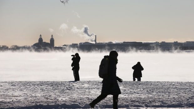 Steam rises from Lake Michigan in January of 2014 in Chicago, Illinois.