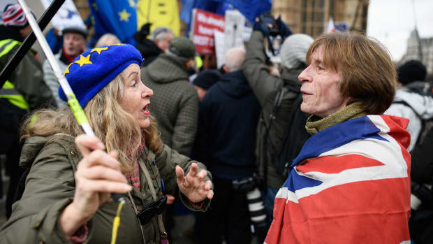 Pro-European Union and pro-Brexit protesters discuss the vote and ongoing political processes as they demonstrate near the Houses of Parliament on January 29th, 2019, in London, England. Members of Parliament debated the amendments to the Prime Minister's Brexit plans in the House of Commons Tuesday afternoon and voted on them Tuesday evening.