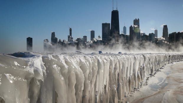 Ice covers the Lake Michigan shoreline on January 30th, 2019, in Chicago, Illinois. Businesses and schools have closed, Amtrak has suspended service into the city, more than a thousand flights have been canceled, and mail delivery has been suspended as the city copes with record-setting low temperatures.