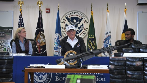 President Donald Trump with Department of Homeland Security Secretary Kirstjen Nielsen during his visit to U.S. Border Patrol McAllen Station in McAllen, Texas, on January 10th, 2019.