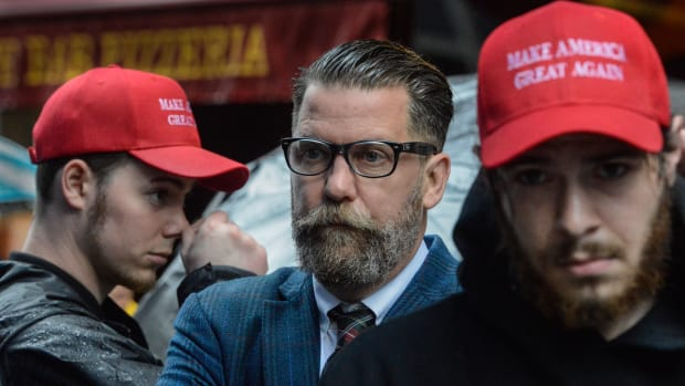 Activist Gavin McInnes takes part in an Alt Right protest of Muslim activist Linda Sarsour on May 25th, 2017, in New York City.