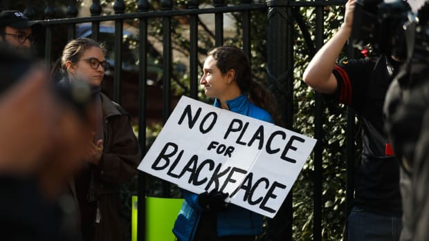 Protesters rally against Virginia Governor Ralph Northam outside of the governor's mansion in downtown Richmond, Virginia, on February 4th, 2019.