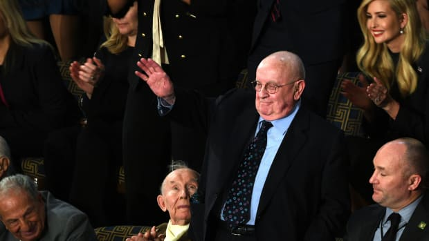 Judah Samet, a member of the Tree of Life Synagogue in Pittsburgh, waves as he is recognized by President Donald Trump during the State of the Union on February 5th, 2019.