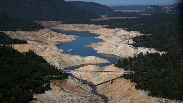 A section of Lake Oroville is seen nearly dry on August 19th, 2014, in Oroville, California.