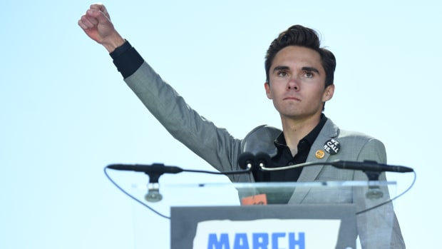 Marjory Stoneman Douglas High School student David Hogg at the 2018 March for Our Lives rally against gun violence in Washington, D.C. In January of 2019, Hogg suggested that President Donald Trump could declare a state of emergency over gun violence in the United States.