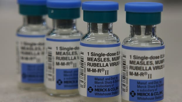Vials of measles, mumps, and rubella vaccines are displayed at a Walgreens Pharmacy in Mill Valley, California, on January 26th, 2015.