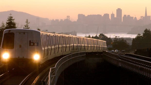 A BART train pulls into Oakland, California.