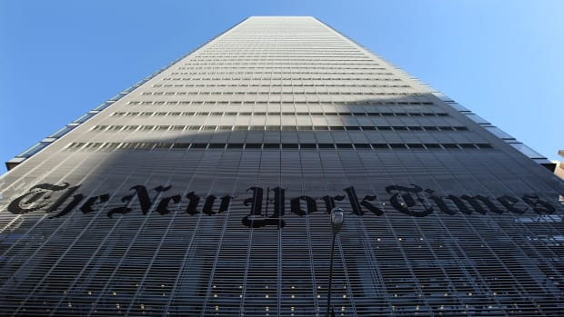 The New York Times headquarters is seen February 14th, 2008, in New York City.