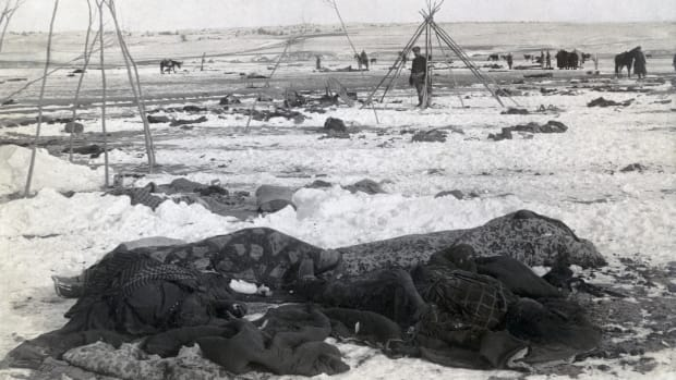 Chief Big Foot's camp three weeks after the Wounded Knee Massacre.