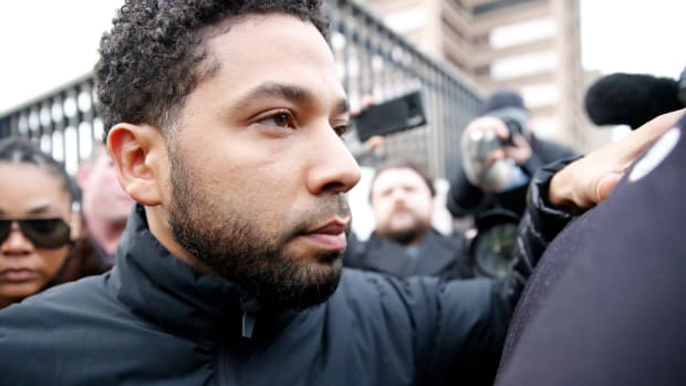 Jussie Smollett leaves Cook County jail after posting bond on February 21st, 2019, in Chicago, Illinois.