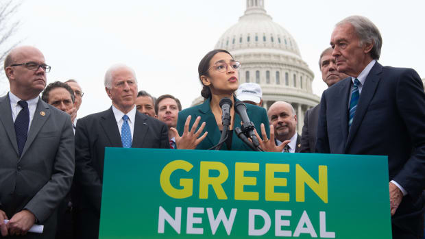 Representative Alexandria Ocasio-Cortez and Senator Ed Markey speak during a press conference to announce their proposal of Green New Deal legislation, at the U.S. Capitol in Washington, D.C., on February 7th, 2019.