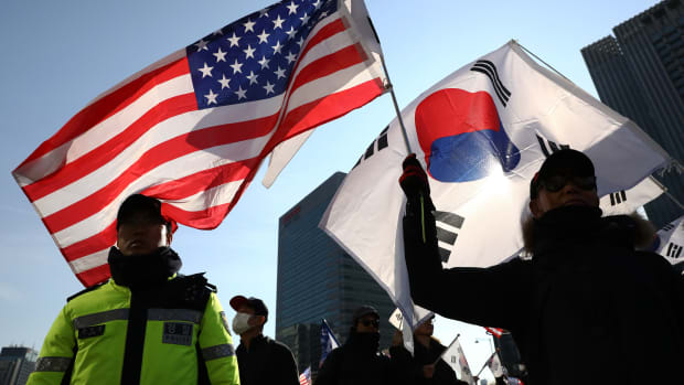 South Korean conservative protesters participate in a pro-U.S. and anti-North Korea rally on February 23rd, 2019, in Seoul, South Korea.