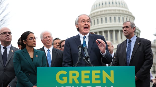 Senator Ed Markey and Representative Alexandria Ocasio-Cortez hold a news conference to unveil their Green New Deal resolution.