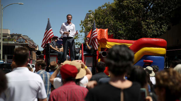 Then-gubernatorial candidate Gavin Newsom speaks at a campaign event hosted by California Assemblyman Rob Bonta, in June of 2018.