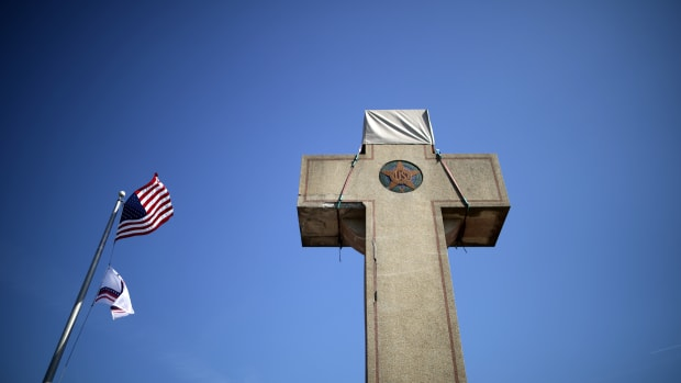 A 40-foot cross that honors 49 fallen World War I soldiers from Prince George's County, Maryland, stands at the busy intersection of Bladensberg and Annapolis roads and Baltimore Avenue on February 28th, 2019, in Bladensburg, Maryland. The cross is at the heart of a Supreme Court case argued by justices this week about whether the symbol runs afoul of the First Amendment's ban on government establishment of religion by sending a message of favoritism to Christianity.