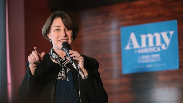 Senator Amy Klobuchar speaks during a campaign stop at the Marion County Democrats' soup luncheon at the Peace Tree Brewing Company on February 17th, 2019, in Knoxville, Iowa.