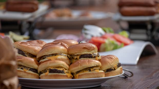 Cheeseburgers are seen during a picnic for military families hosted by President Donald Trump and First Lady Melania Trump at the White House on July 4th, 2018, in Washington, D.C.
