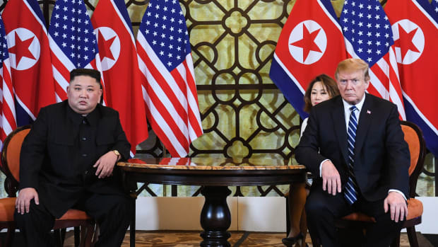 President Donald Trump and North Korea's leader Kim Jong-Un hold a meeting during the second U.S.–North Korea summit, in Hanoi on February 28th, 2019.