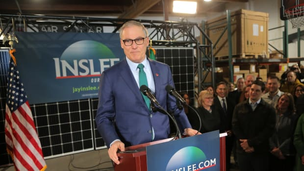 Washington State Governor Jay Inslee announces his run for the 2020 presidency at A & R Solar on March 1st, 2019, in Seattle, Washington.