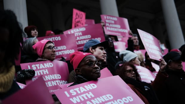 Pro-choice activists, politicians, and others associated with Planned Parenthood gathered for a demonstration against the Trump administration's Title X rule change on February 25th, 2019, at city hall in New York City.