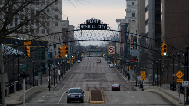 Saginaw Street in downtown is shown on February 7th, 2016, in Flint, Michigan.