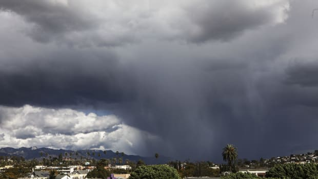 A wintry mix of precipitation falls during an unusually cold winter storm system on February 21st, 2019, in Los Angeles, California. Some parts of Los Angeles County received a brief dusting of snow during the storm.
