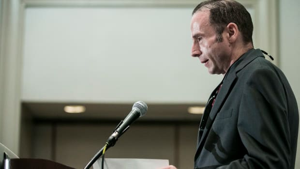"""Timothy Ray Brown, known as the """"Berlin patient"""" and the first person to have been cured of AIDS, holds a press conference at the Westin City Center hotel on July 24th, 2012, in Washington, D.C."""