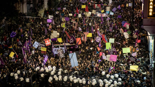 Police move to disperse thousands of people marching down Istiklal Street during a rally for International Women's Day in Istanbul, Turkey, on March 8th, 2019.