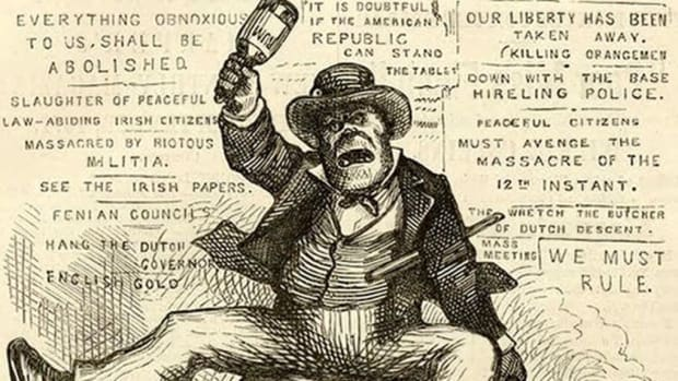 Racist Irish caricatures in 19th-century America