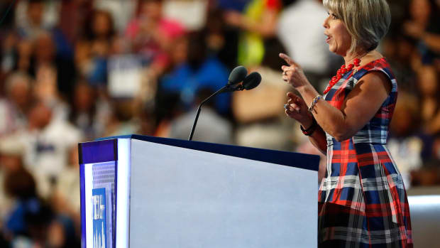 Then-Representative, now Governor of New Mexico, Michelle Lujan Grisham speaks at the 2016 Democratic National Convention.