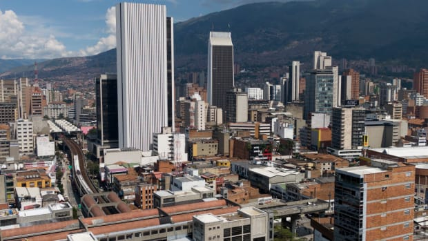 Aerial picture released by Goez Films taken on November 29th, 2018, showing a partial view of the Colombian city of Medellin.